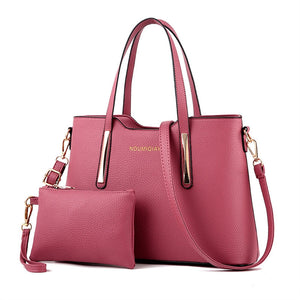 2pcs Womens Leather Shoulder Bag Top-handle Handbags Tote Purse Bags For Girls Office Ladies