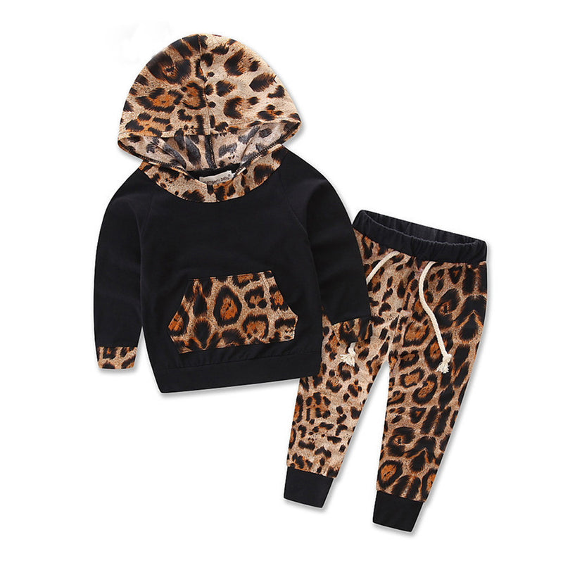 Baby Kids Set Long Sleeve Leopard Print Tracksuit Top + Pants Outfits Set