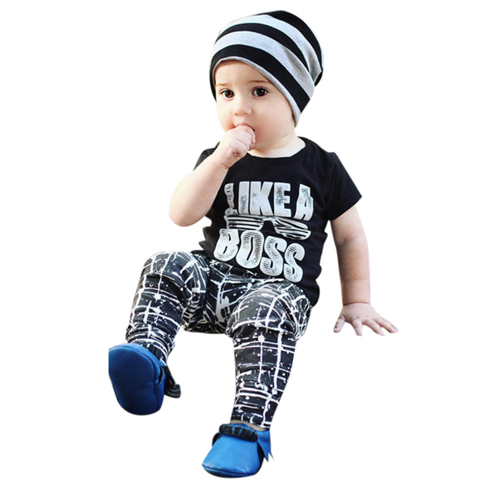 2PCS Toddler Kids Infant Baby Boy Letter T shirt Tops Pants Outfits Clothes Set