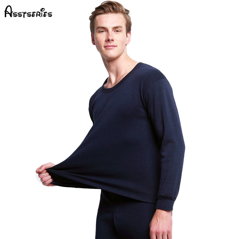 Free shipping Best quality  brand Gray men Thermal underwear cashmere o-neck long johns pantalon termico h16