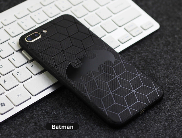 3D Touch Case For IPhone X 8 7 Plus 6S Soft Silicone Relief Pattern Phone Case For IPhone 7 6 S Plus Back Cover Superman Batman