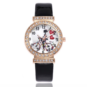 Women Fashion Love bicycle Leather Band Analog Quartz Round Wrist Watch Watches