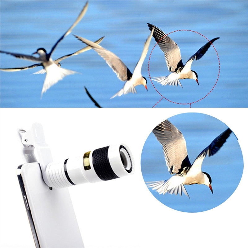 Universal Phone Camera 8X Lens Telescope. HD 8X Optical Zoom for Mobile Phones. Universal Clips
