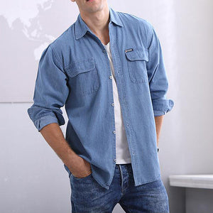 2018 New Men's Fashion Denim Shirt Long Sleeve Washed Casual Tops