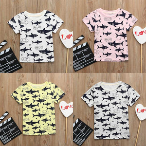 Children Kid Infant Letter shark Print Tops Blouse T-shirt Outfit Clothes