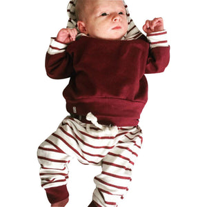 2pcs Toddler Infant Baby Boy Clothes Set Striped Hoodie Tops+Pants Outfits