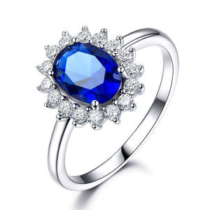 Created Blue Sapphire 6*8mm Princess Diana Rings Genuine 925 Sterling Silver