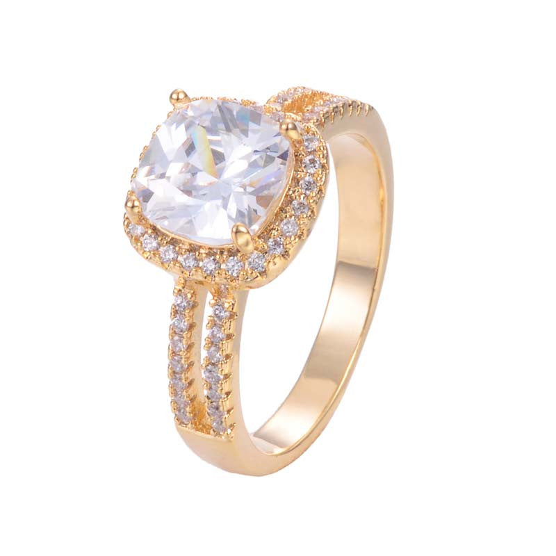 Clear Cubic Zirconia Square Halo Ring 18K Gold/Platinum Plated