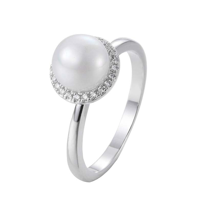 White Freshwater Cultured Pearl With Cubic Zirconia Ring 18K Gold/Platinum Plated