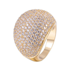 Micro Pave Wide Band Ring With Copper Zirconia 18K Gold/Platinum Plated