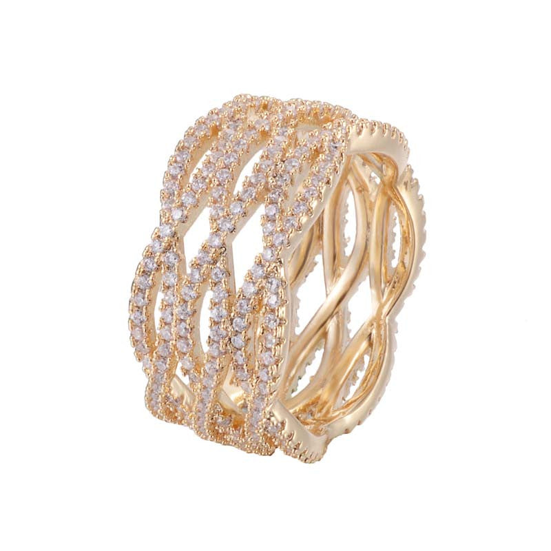 Wrap Cross Wide Copper Ring With Zirconia 18K Gold/Platinum Plated