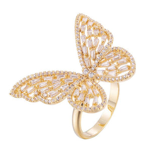 Butterfly Copper Zirconia Cocktail Ring With 18K Gold/Platinum Plated