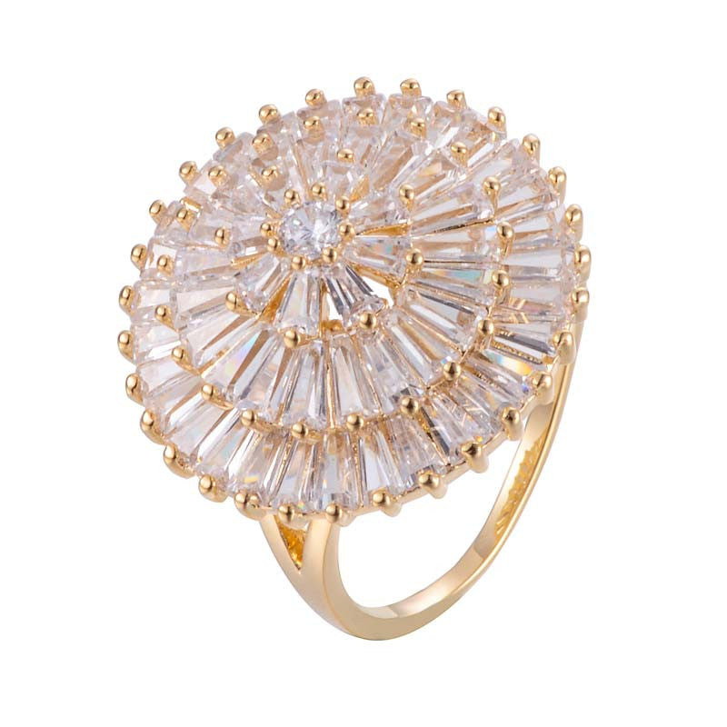 Dandelion Zirconia Copper Ring With 18K Gold/Platinum Plated