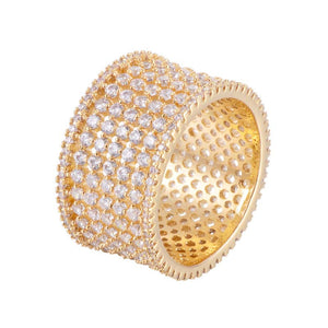 Brilliant Cut Stacked Wide Band Copper Ring With Zirconia 18K Gold/Platinum Plated