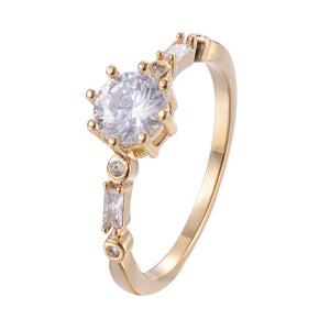 Spaced Cubic Zirconia Copper Ring 18K Gold/Platinum Plated