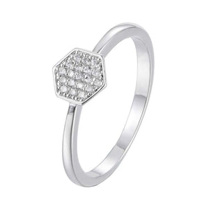 Hexagon Paved Ring 18K Gold /Platinum Plated Ring