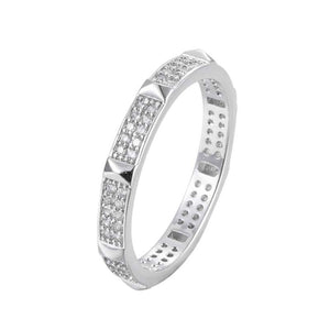 Spacing Paved Band Copper Ring With  Zirconia 18K Gold/Platinum Plated
