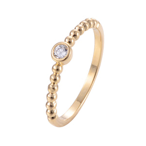 Solitaire Copper Zirconia Ring 18K Gold /Platinum Plated
