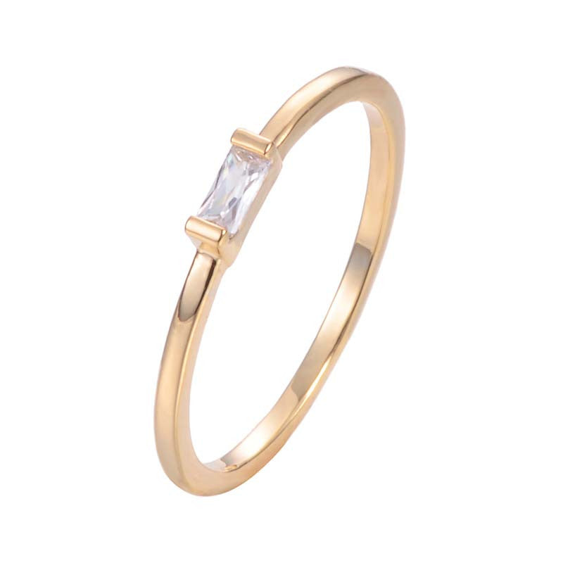 Copper Zirconia Bar Stick Diamond Ring 18K Gold/Platinum Plated