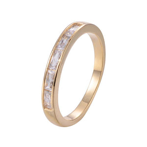 Modular Band Copper Ring With Zirconia 18K Gold/Platinum Plated