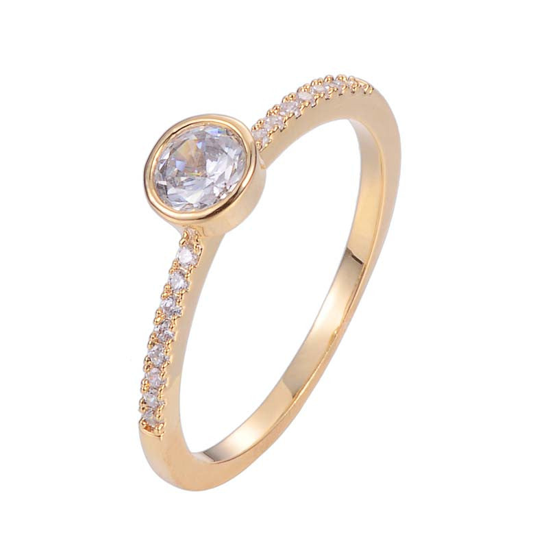 Circle Minimalist Ring With Copper Zirconia 18K Gold/Platinum Plated