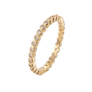 Circle Round Copper Ring With  Zirconia 18K Gold/Platinum Plated