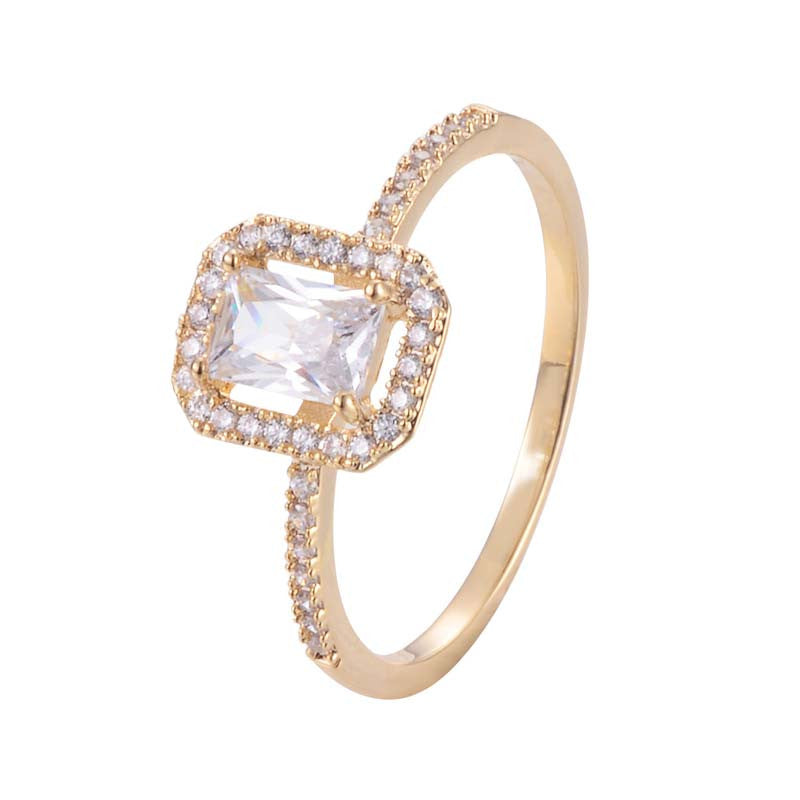 Square Hollow Ring With Copper Zirconia 18 Gold /Platinum Plated
