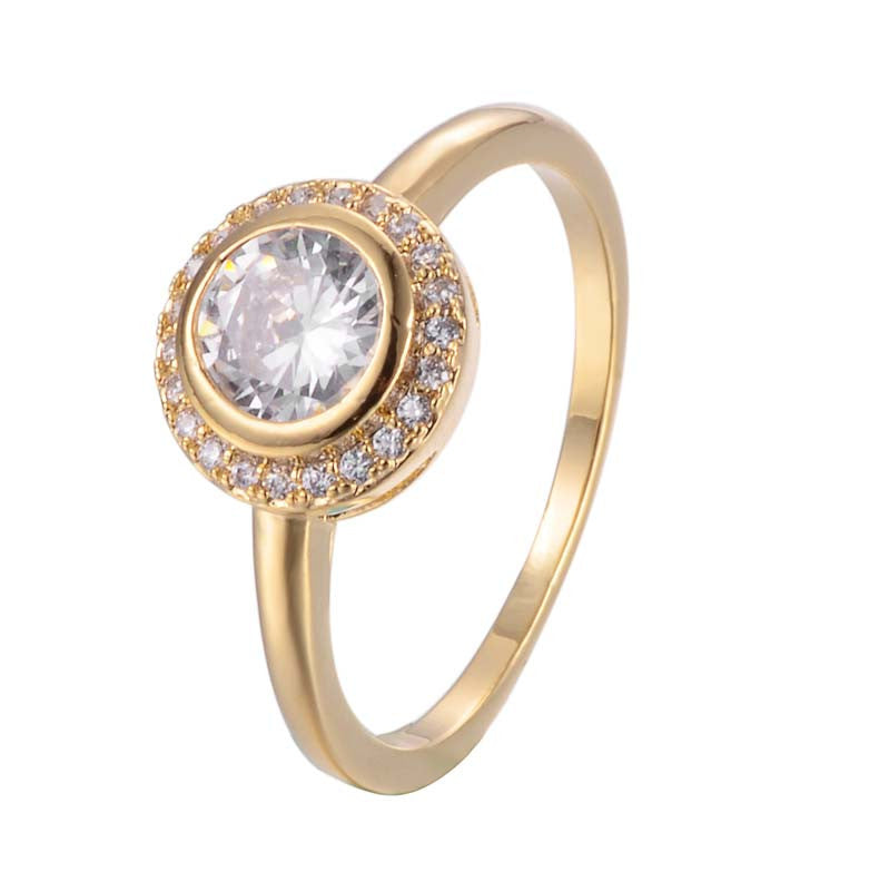 Round Cut Circles Cubic Zirconia Copper Ring 18K Gold/Platinum Plated