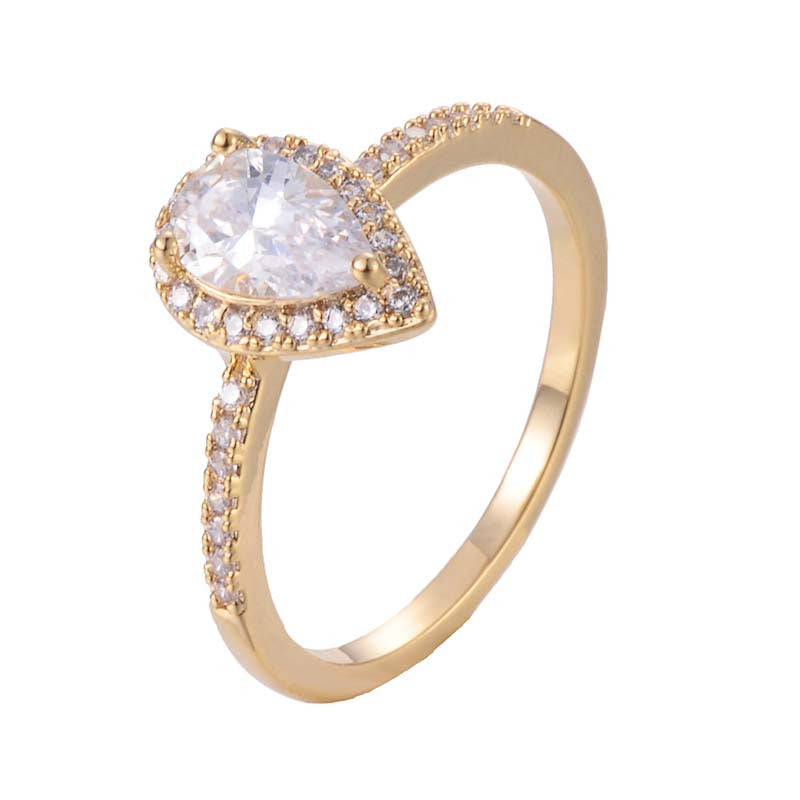 Water Drop Ring With Copper Zirconia 18K Gold/Platinum Plated Ring