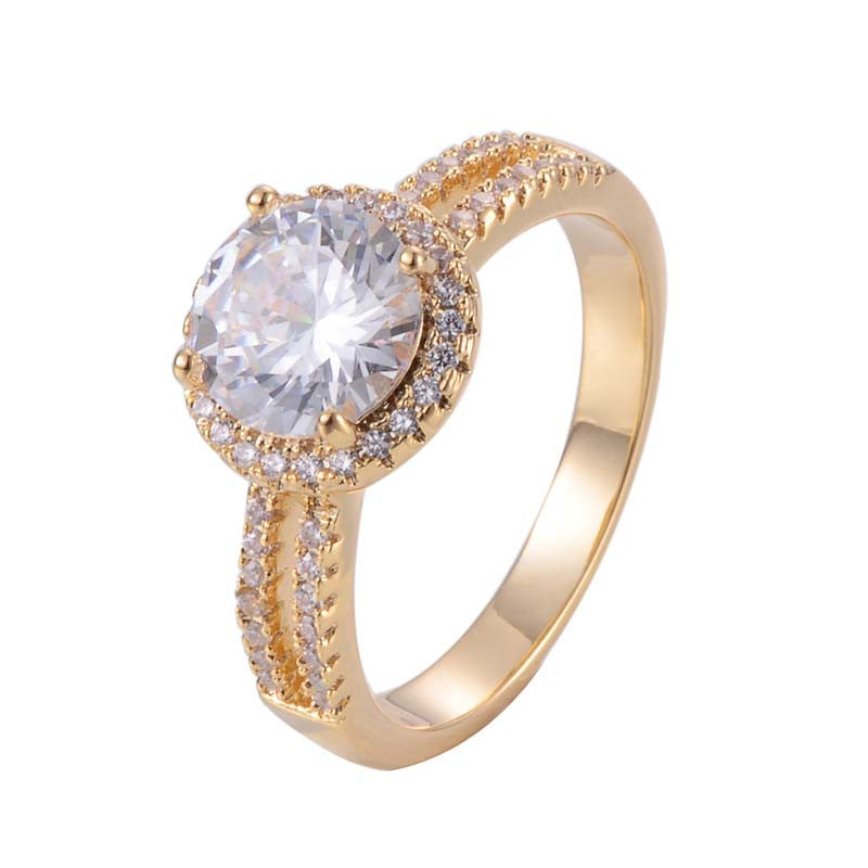 Round Cut Diamond Halo Double Band Classic Ring with 18K Gold/Platinum Plated