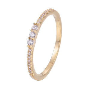 Eternity Zirconia Bar Setting Cooper Ring With 18K Gold/Platinum Plated