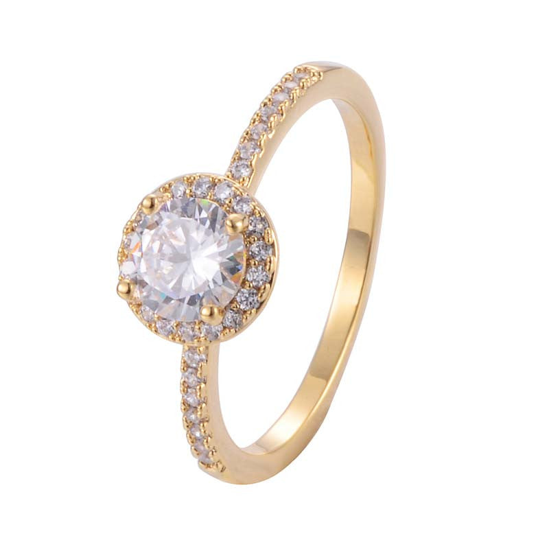 Classic Round Princess Ring With Copper Zirconia 18K Gold/Platinum Plated