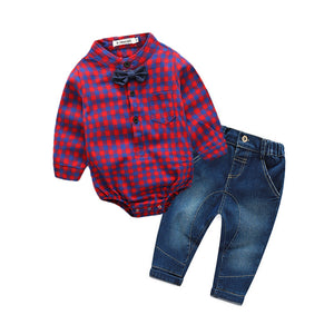 2Pcs Infant Toddler Baby Boys Grid Print Tops Romper+Pants Outfits Clothes Set