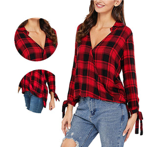 Red Plaid Polo Shirts for Women Long Sleeved Girls Casual Shirt Spring Irregular Button Blouse