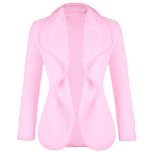 Lambswool Long Sleeve Jacket Coat Womens Spring Solid Fleece Cardigan Outerwear for Girls