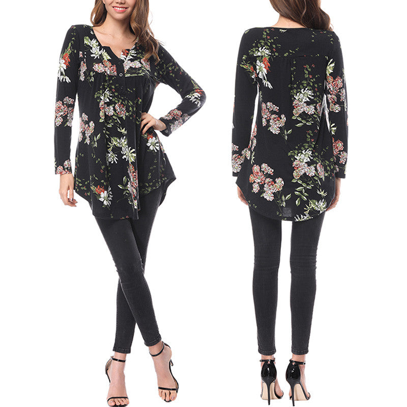 Women Long Sleeve Pullover Tops/Blouse. Floral Print T-shirt Casual Girls
