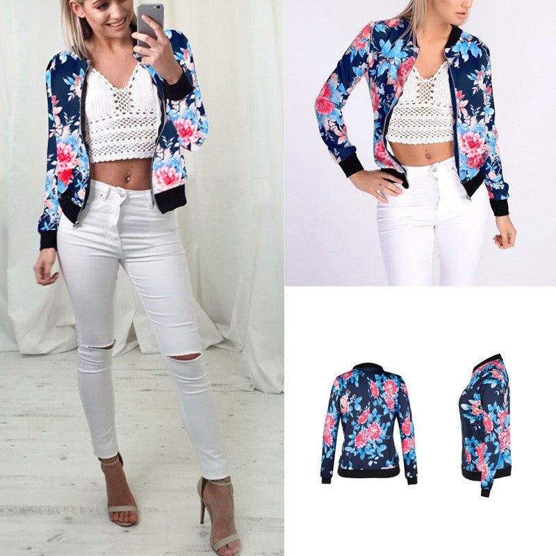 Women Black Bomber Jacket 2018 Print Floral Coat Casual Zipper