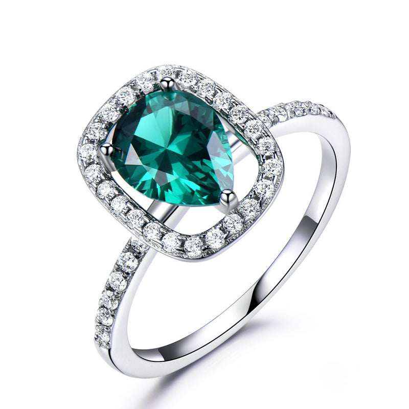 Green Nano Emerald Ring 925 Sterling Silver Fine Jewelry