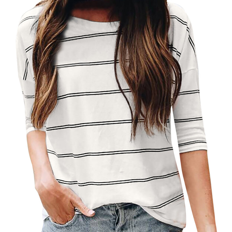 Womens Casual Loose O Neck Elbow Sleeve Stripe Tops Blouse