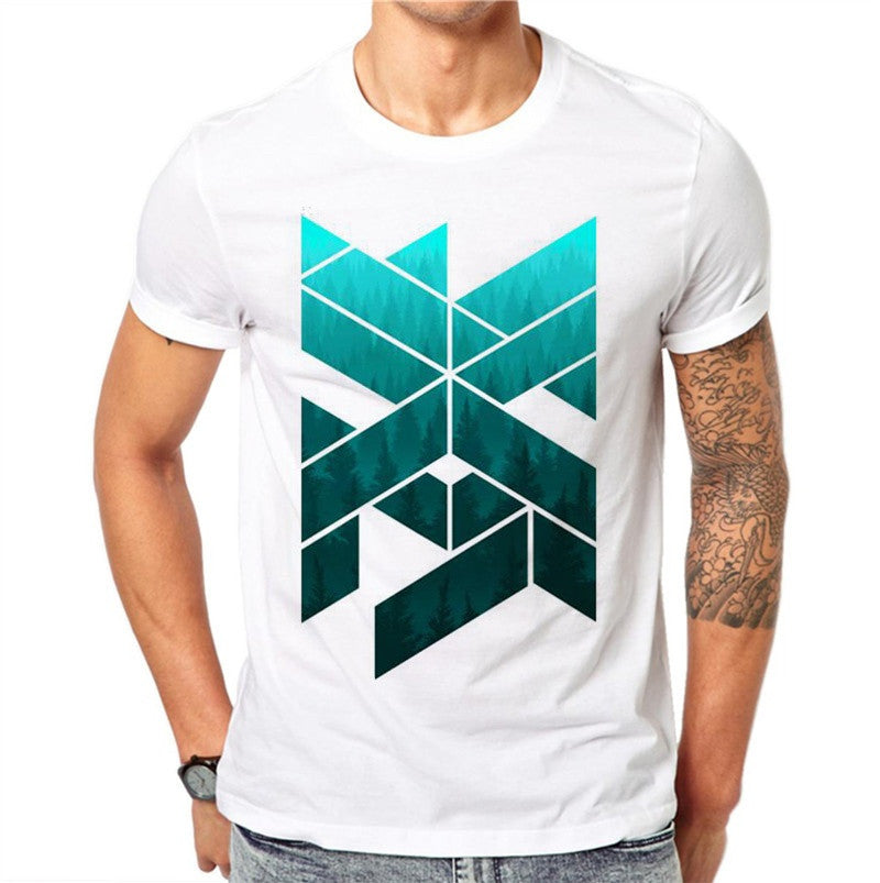 100% Cotton Summer Ink Geometric Figure Design Men T Shirts Fashion Simple Design Man Short Sleeve Tops Tees Clothes XXXXL
