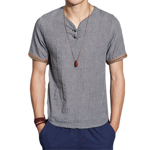2018 New Summer Brand Shirt Men Short Sleeve Loose Thin Cotton Linen Shirt Male Fashion Solid Color Trend V-Neck Tees Plus Size