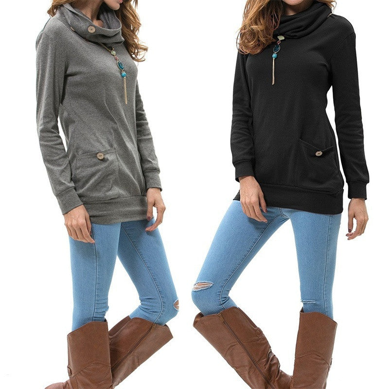 Spring Women Pocket Blouse Plus Size Cowl Neck Tops Casual Long Sleeve Sweatshirts