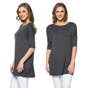 Summer Women Loose Tops Blouse Shirt Boatneck Top Half Wide Sleeve Batwing T-Shirt Plus Size