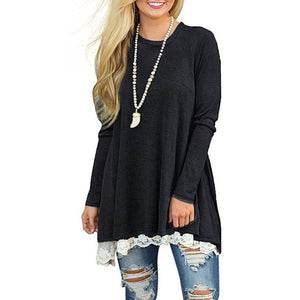 Women Plus Size Long Sleeve Tops Loose Black Tunic T-shirt Girls Spring Irregular Blouse