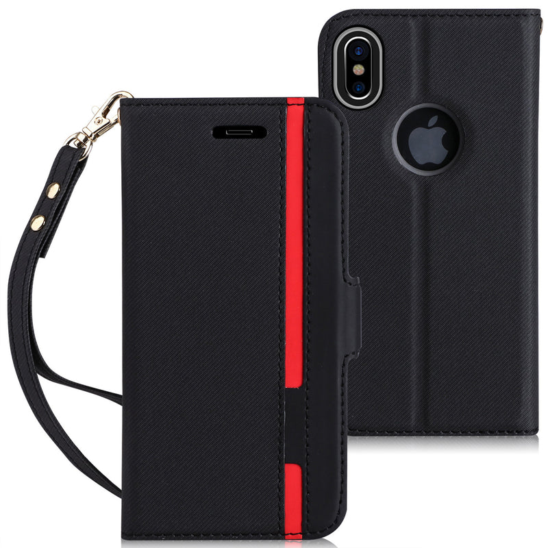 iPhone X Case, iPhone X Wallet Case, FYY Premium PU Leather Wallet Case with Hand Strap and Kickstand Function for Apple iPhone X Edition(2017)