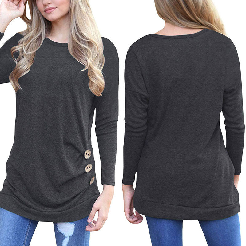 Women Long Sleeve Spring Shirt Solid Plus Size Blouse Tops 2018 Loose Tunic Tops