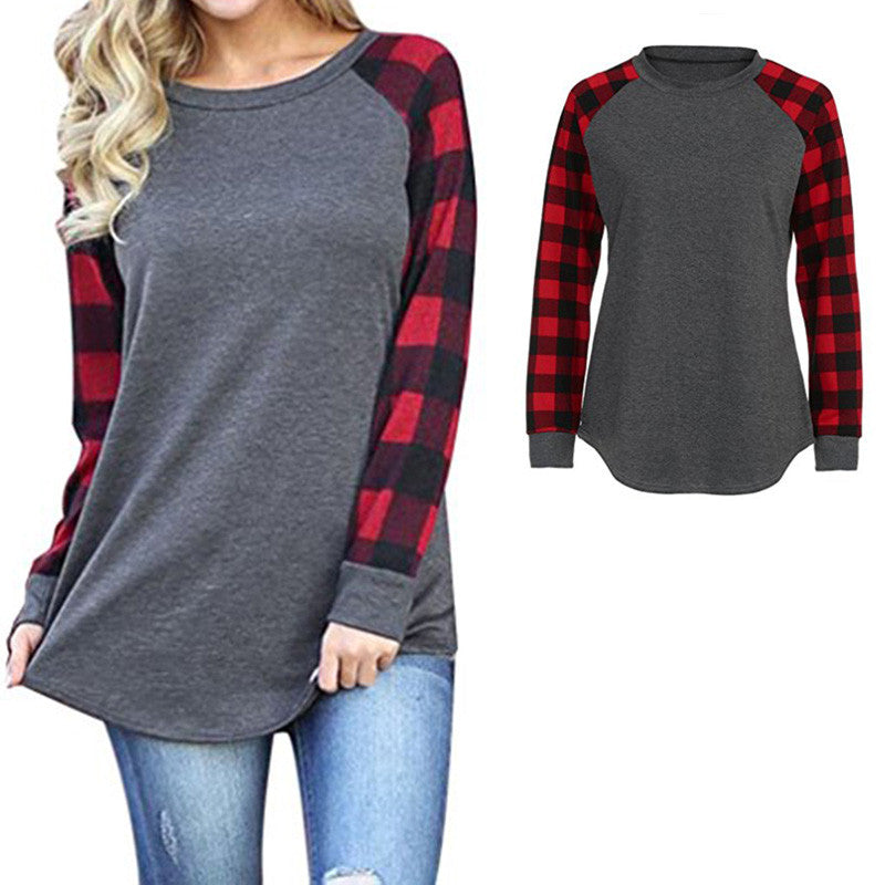 Women's Long Sleeve Blouse for Women Long Sleeve Plaid Color Block Tunic Tops for Women