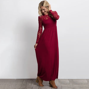 Sexy Evening Party Dresses Long Sleeve Elegant Ladies Maxi Lace Dress Spring Soild Color Dresses