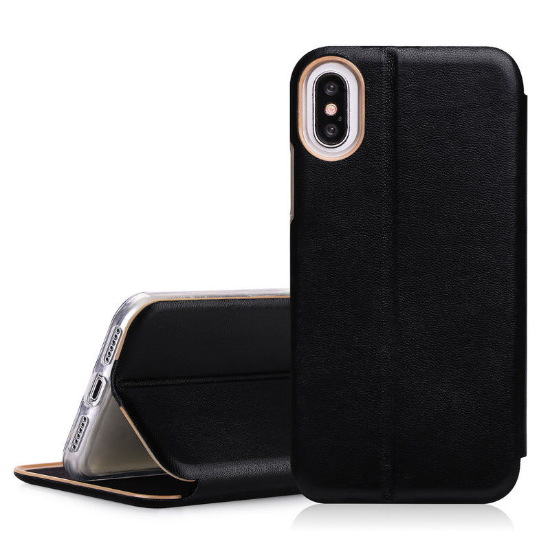 iphone X Case, FYY 100% Handmade Genuine Leather Wallet Case with Card Slot and Kickstand Function for iphone X