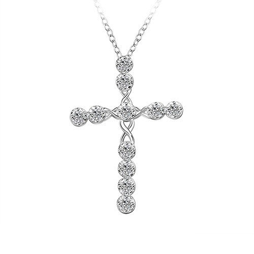 Women's 925 Sterling Silver Plated Cross Zircon Pendant Necklace